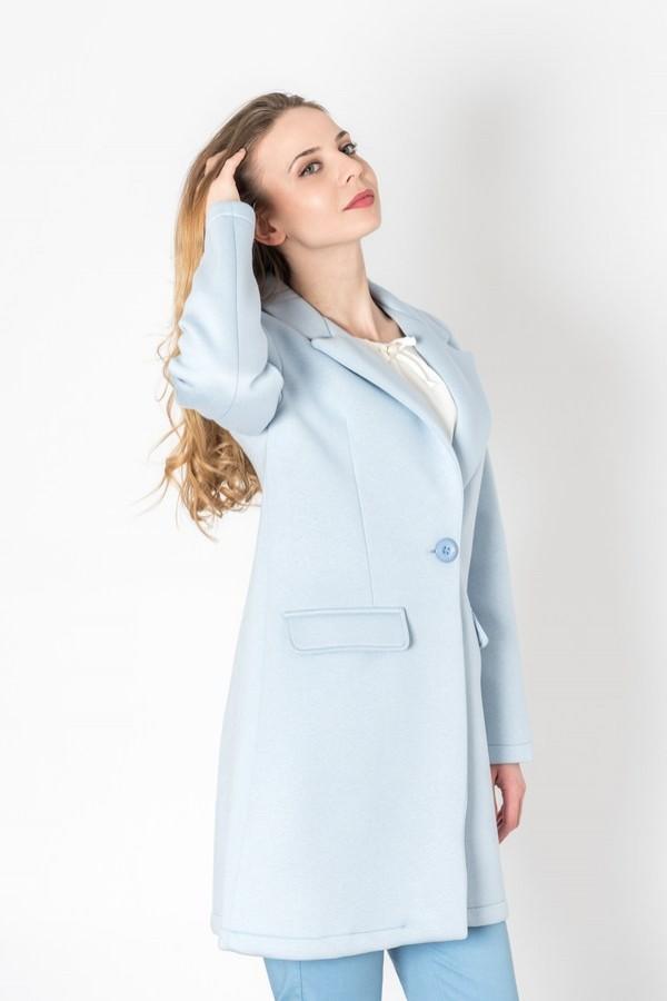 Спортен дамски блейзър с ревер в небесно син цвят