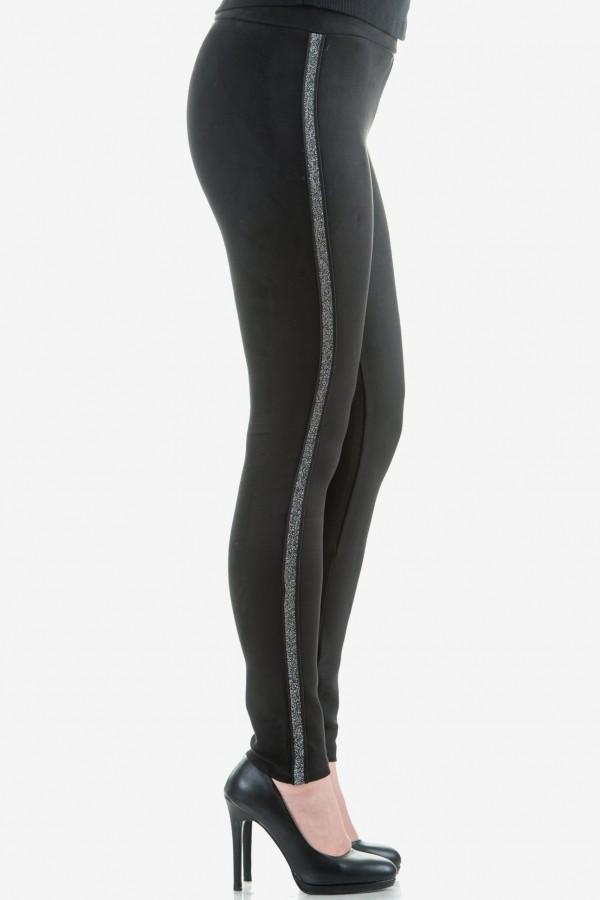 Дамски клин с велурен ефект в черно