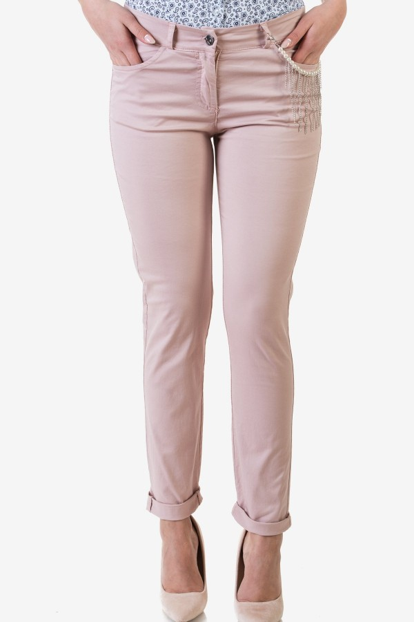 Спортно-елегантен дамски панталон в бледо розов цвят