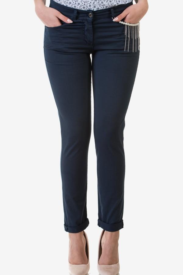 Спортно-елегантен дамски панталон в син цвят