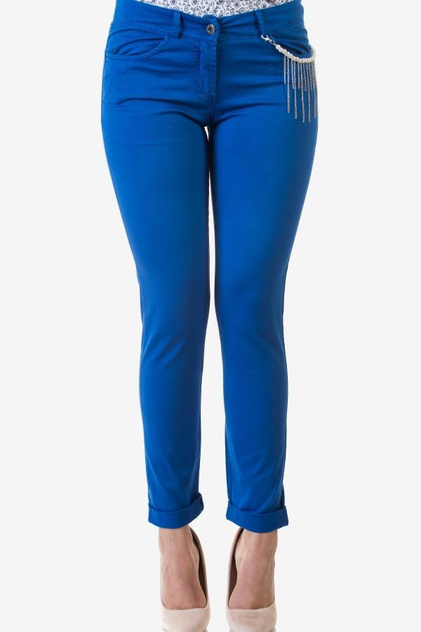 Спортно-елегантен дамски панталон в кралско син цвят
