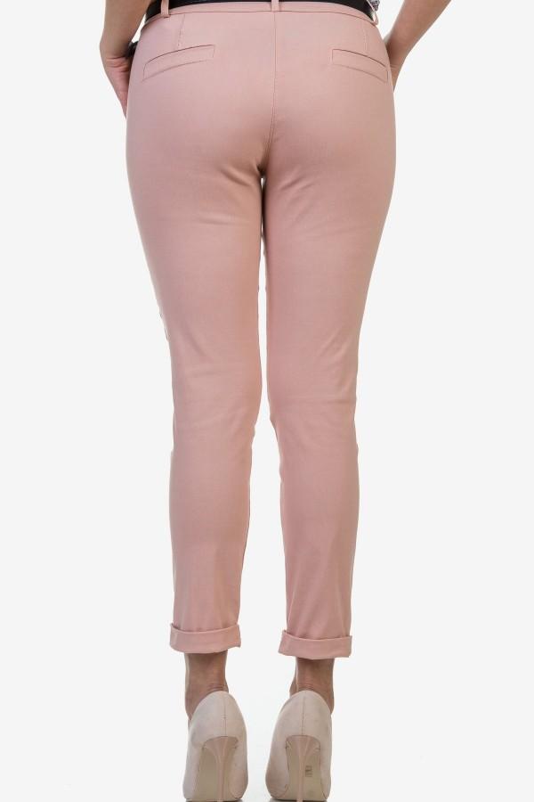 Дамски панталон в бледо розов цвят
