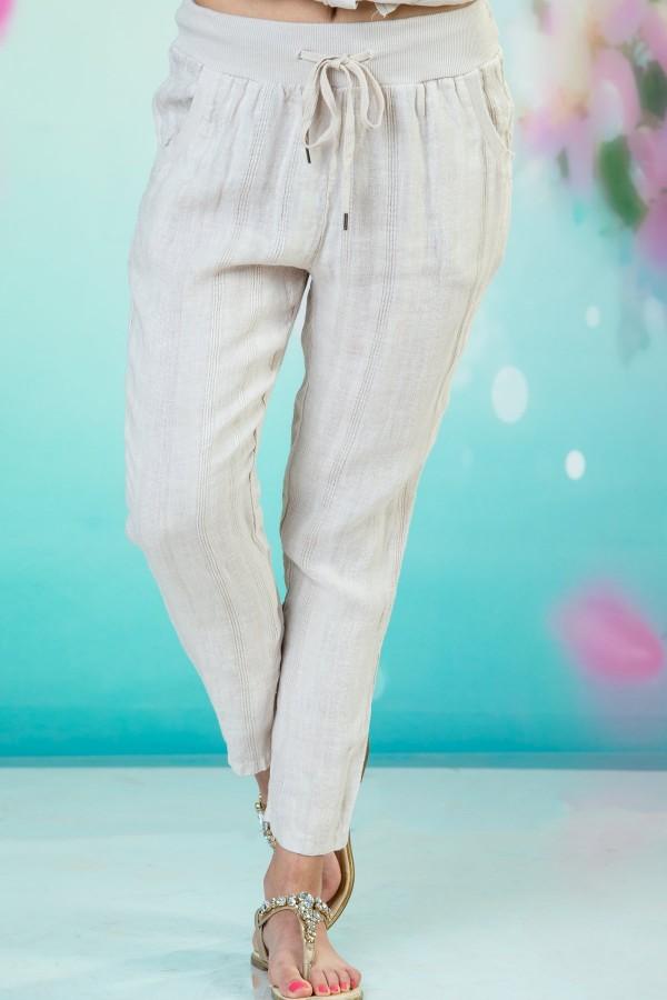 Дамски ленен панталон в бежов цвят