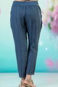 Дамски ленен панталон в син цвят