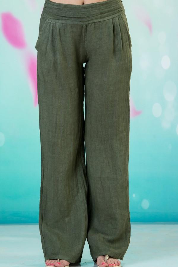Дамски ленен панталон в зелен цвят