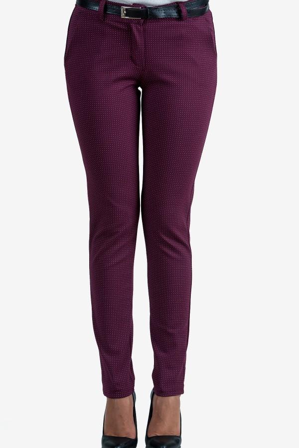 Панталон в цвят бордо на точки