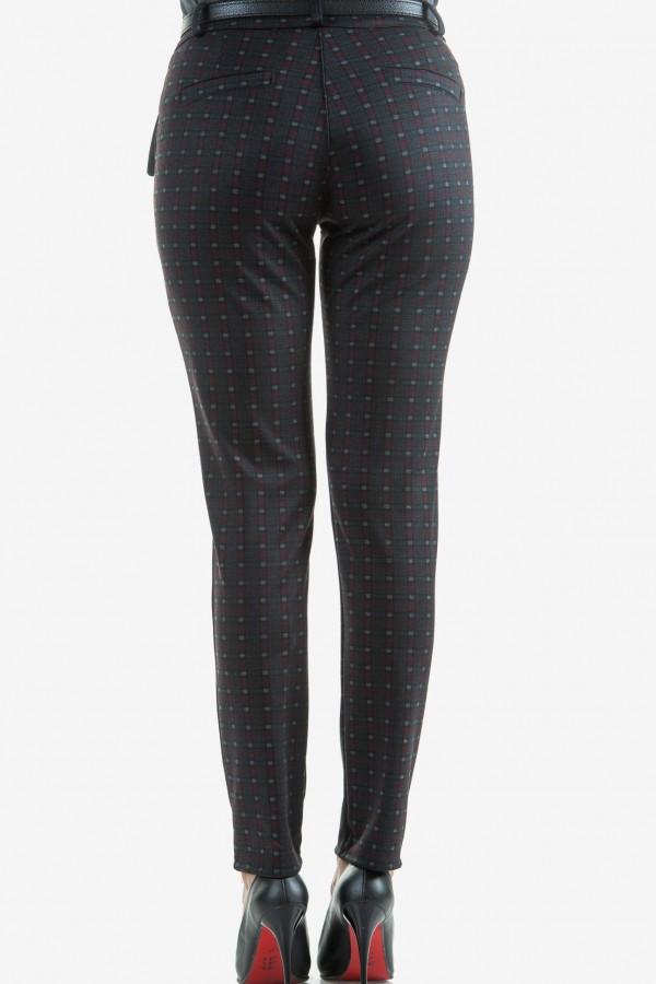 Кариран панталон в сиво и бордо