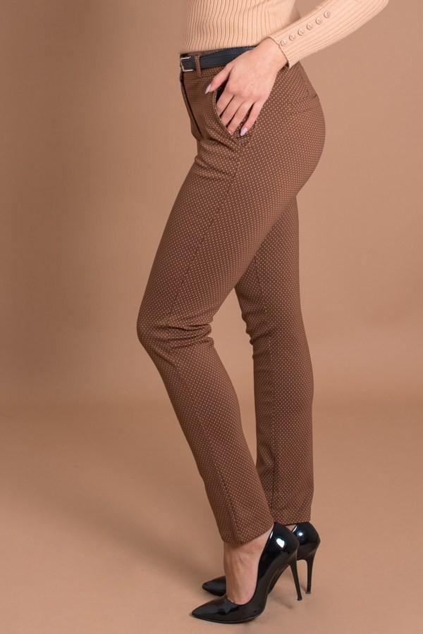 Дамски панталон на точки в керемиден цвят