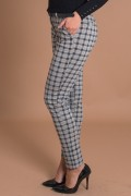 Дамски кариран панталон в сив цвят