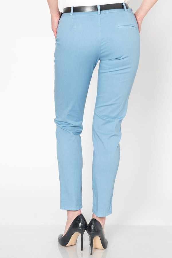 Дамски памучен панталон в небесно син цвят