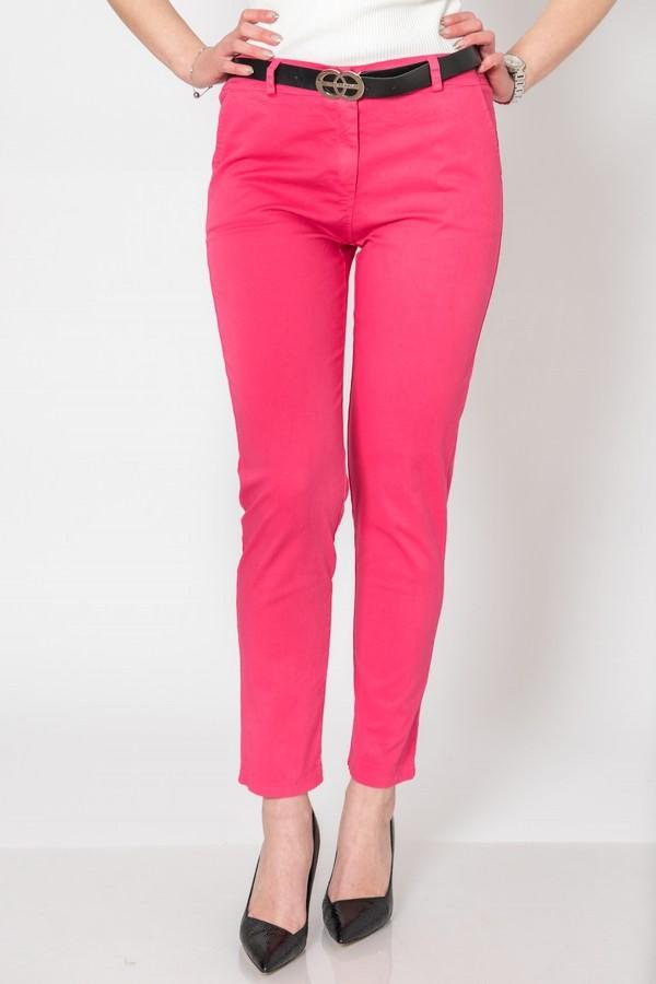 Розов памучен дамски панталон с колан