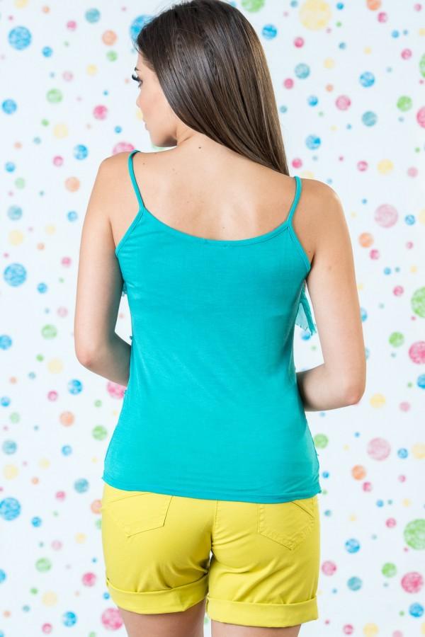 Дамски копринен потник в зелен цвят