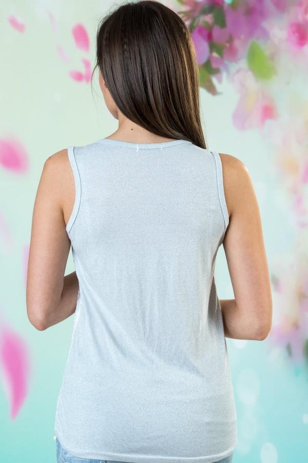 Дамски потник в бял цвят с перли
