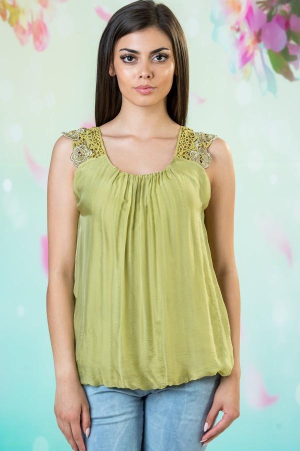 Копринен дамски потник в зелен цвят