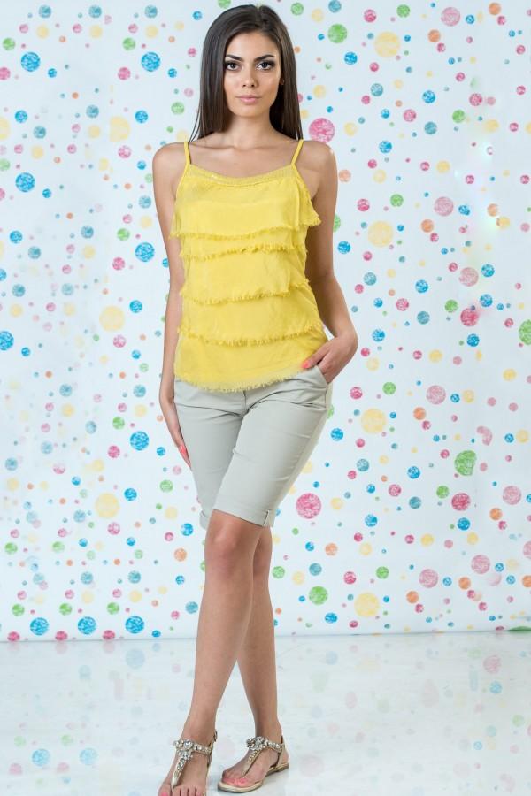 Дамски копринен потник в жълт цвят