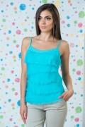 Дамски копринен потник в син цвят