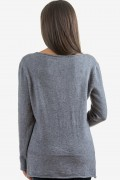 Пуловер от меко плетиво в сиво