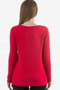 Пуловер от меко плетиво в червено