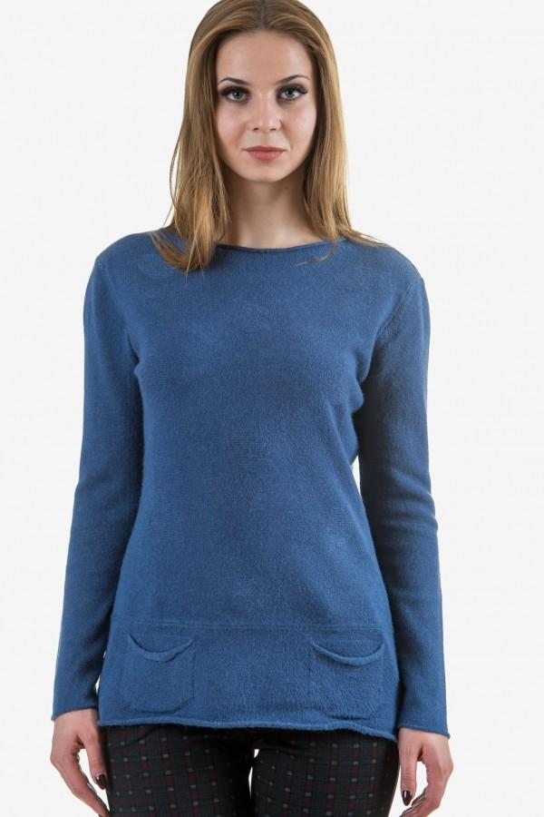 Пуловер от меко плетиво в синьо