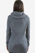 Пуловер с качулка в сиво