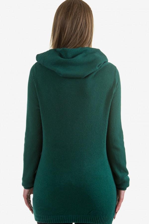 Пуловер с качулка в зелено