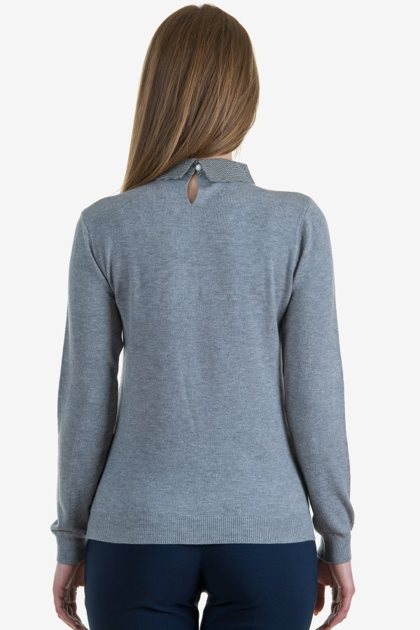 Дамски пуловер в сив цвят