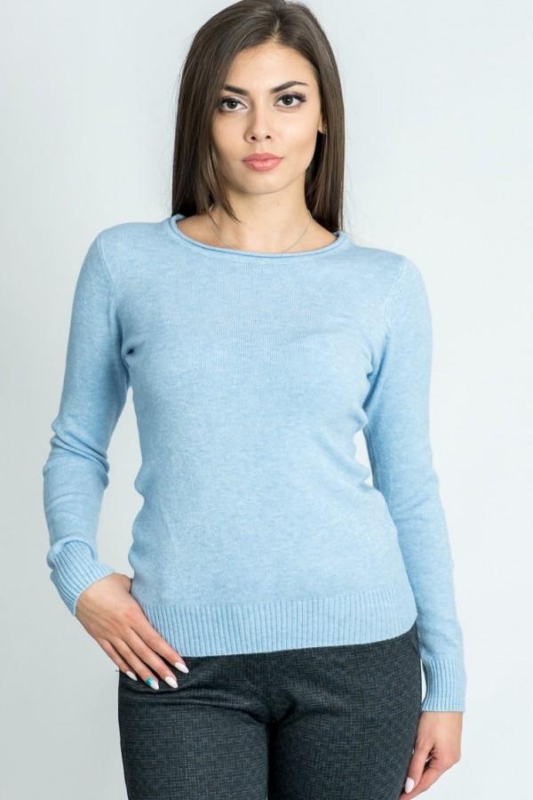 Дамски пуловер от фино плетиво в светло син цвят