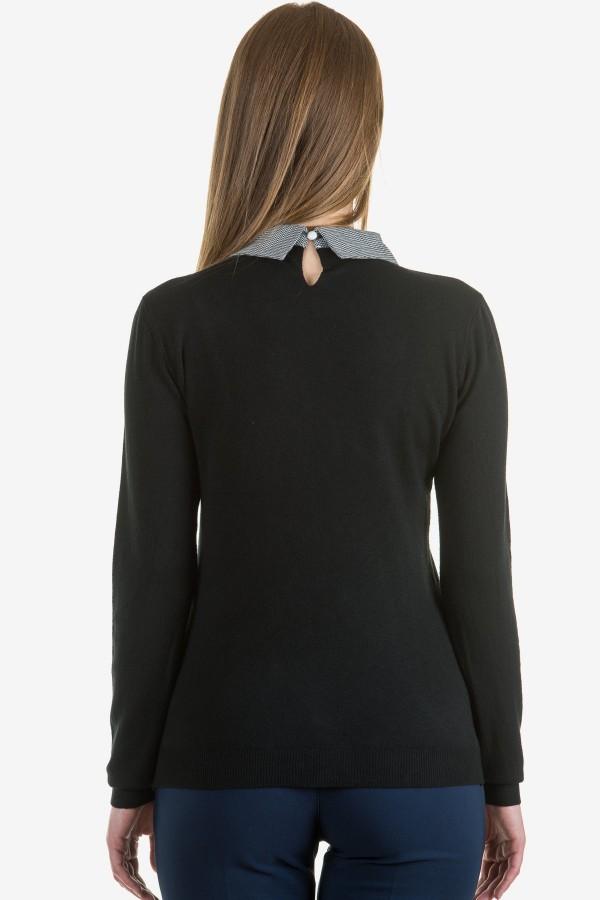 Дамски пуловер в черен цвят