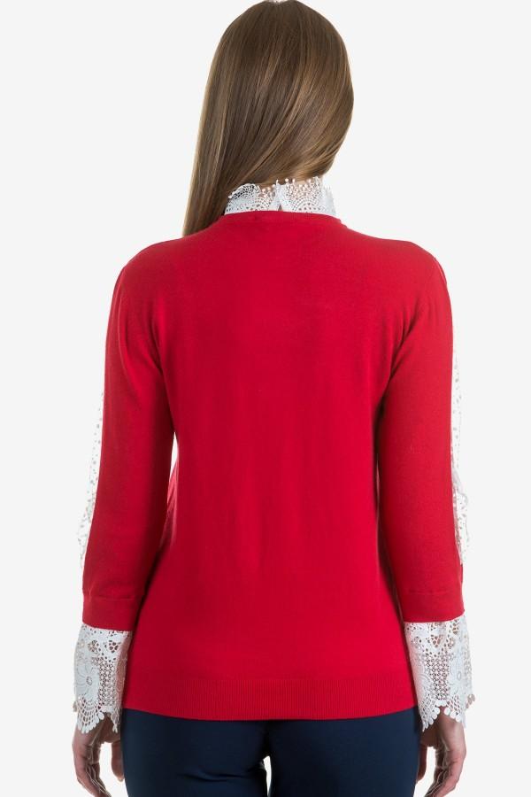 Дамски червен пуловер с дантела