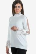 Дамски бял пуловер с дантела