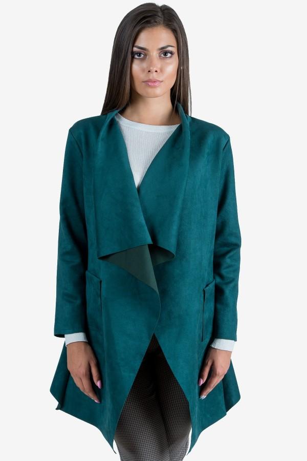 Дамско манто в зелен цвят