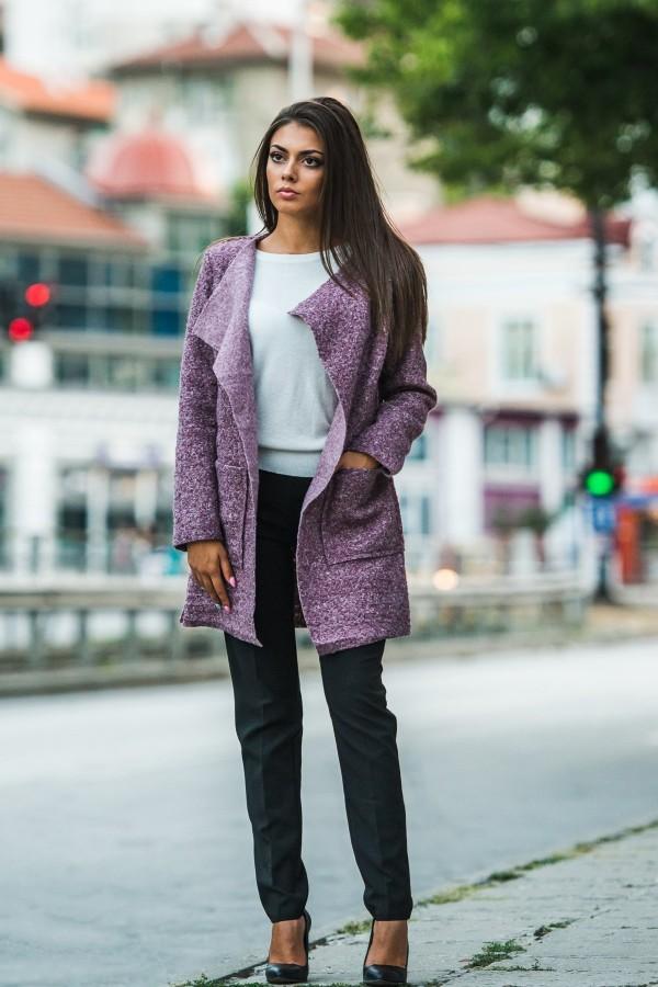 Дамско манто в лилав цвят