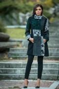 Дамско палто в черно на етно мотиви с качулка