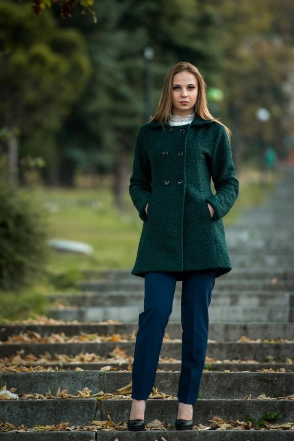 Дамско палто в петролено зелен цвят
