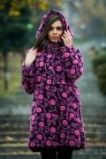 Бутиково вълнено палто в лилав цвят