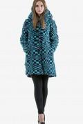 Бутиково вълнено палто в син цвят