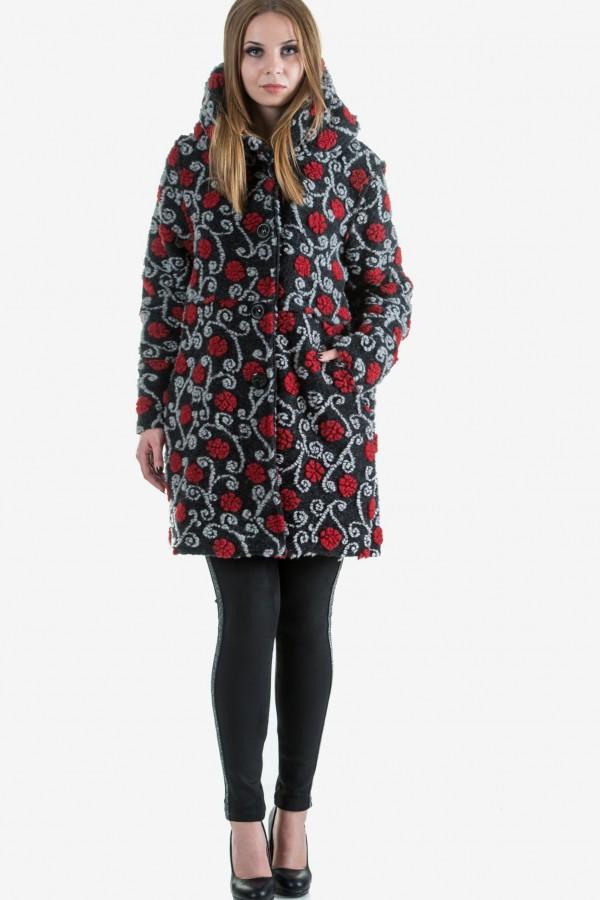 Бутиково вълнено палто в черен цвят