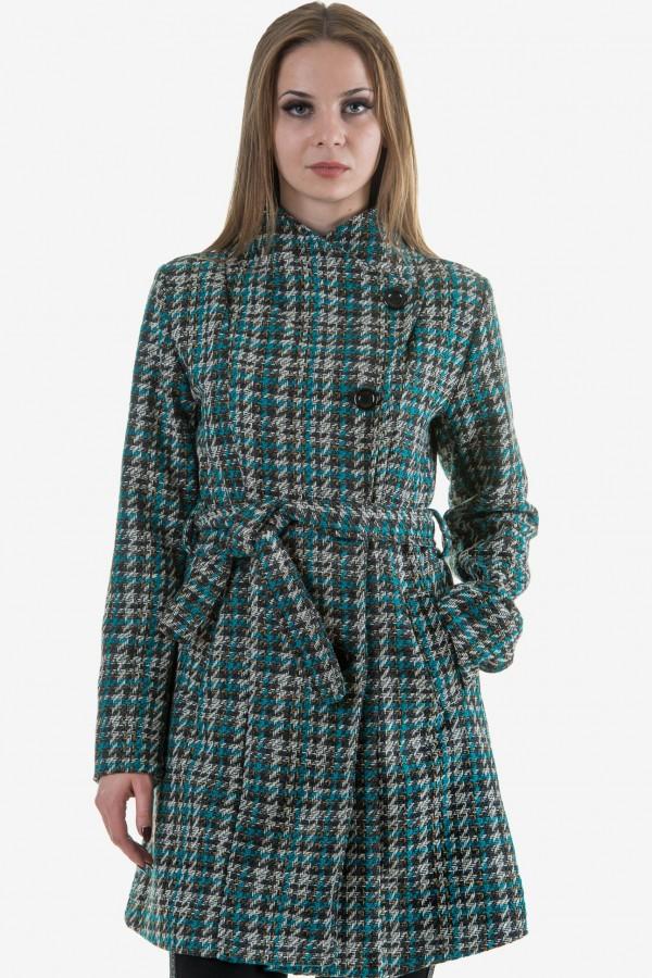 Карирано дамско палто с колан