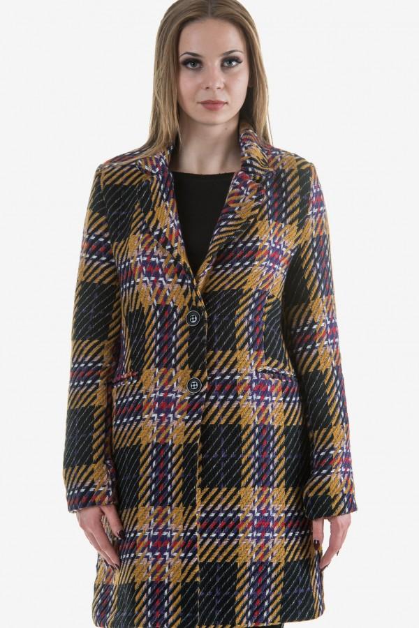 Дамско карирано палто в цвят охра