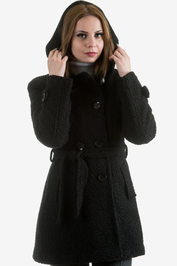 Дамско черно палто от букле