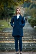 Дамско палто с подплата от меко букле в тъмно син цвят