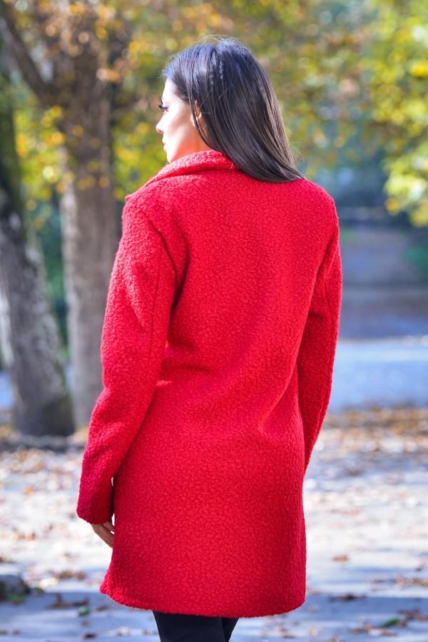 Дамско палто от букле в червен цвят
