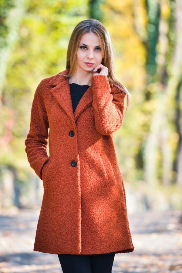 Дамско палто от букле в керемидено оранжев цвят