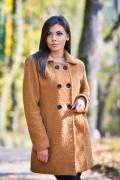 Дамско палто от букле в светло кафяв цвят