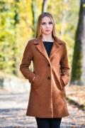 Дамско палто с ревер от букле в кафяв цвят