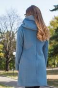 Зимно дамско палто с качулка в син цвят