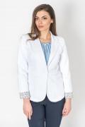 Памучно дамско сако в бял цвят с ревер