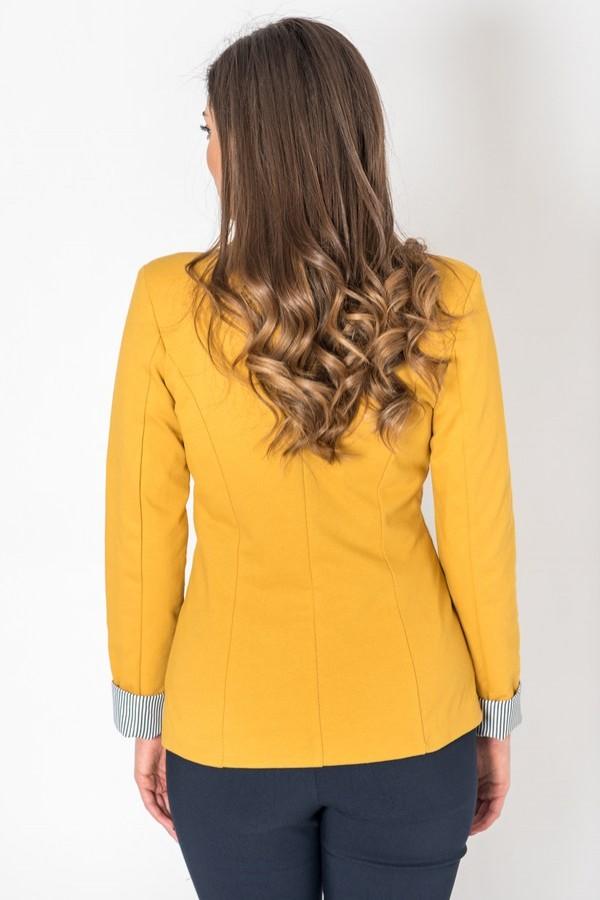 Дамско памучно сако в цвят охра с ревер