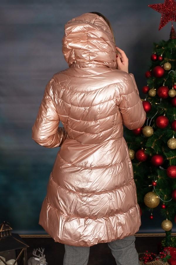Дамско яке в цвят розово злато с качулка