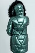 Топло яке с качулка в зелен металиков цвят